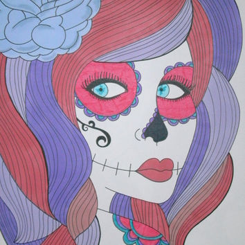 Sugar Skull Girl Shades of Purple & Red Promarker 9x12 Drawing, Original Day of the Dead Art, Dia De Los Muertos, Alternative Gift Idea