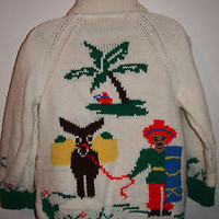 VTG 70S 80S SHAWL COLLAR COWICHAN HAND KNIT SWEATER CARDIGAN SZ M MEXICAN