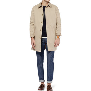 A.P.C. - Faux Suede-Trimmed Cotton-Blend Raincoat | MR PORTER