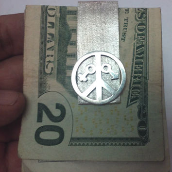 Sterling silver money clip money holder with peace sign jewelry male and female emblem perfect gift for her and him