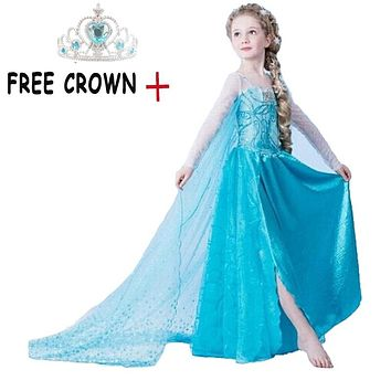 Baby Girls Princess Anna Elsa Dress Halloween Christmas Party Cosplay Costume Elsa Dresses For Girl Fancy Ball Dress Vestido