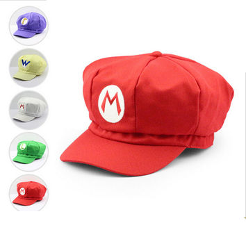Super Mario Plush Toys Cotton Plush Caps Mario Luigi Wario Waluigi Cosplay Hat Plush Toys Holloween Gift