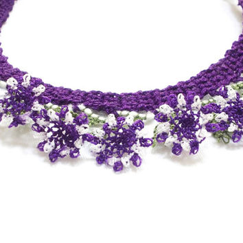 Needle Lace, Crochet Necklace, Crochet Jewelry, Lace Bib, Purple, Summer, Sport lace jewelry, 3D flower nature necklace