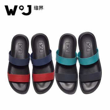 W.J 2017 New Summer Cool Water Genuine Leather Flip Flops Men High quality Soft Massage Beach Slippers,Fashion Man Casual Shoes