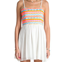 Neon Aztec Mini Summer Dress