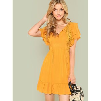 Tie Neck Lace Trim Ruffle Hem Dress