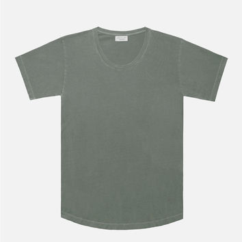 Washed Curve U-Neck / Olive
