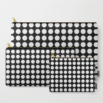 White polka dots in black background Carry-All Pouch by byjwp