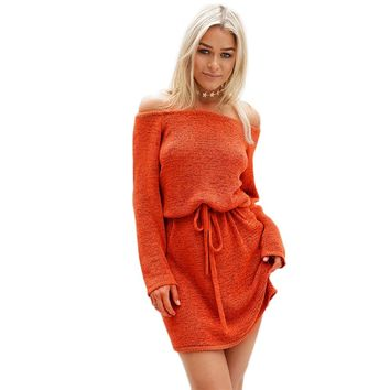 Trendy Off The Shoulder Long Sleeve Waist Pure Color Knitted Dress for Ladies