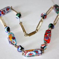 Vintage 1950 Millefiori Art Glass Bead Necklace by patwatty