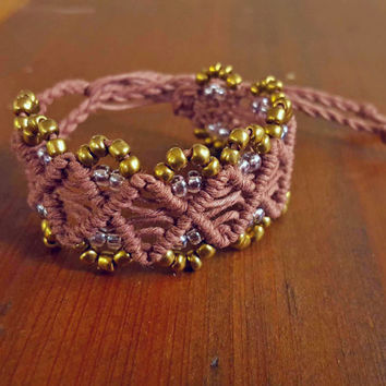 Brown Macrame Bracelet Bohemian Jewelry Beaded Hemp Cuff