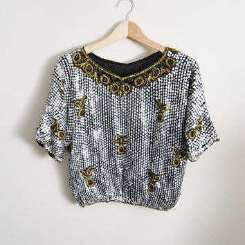 68e8ee6e38fbf3 Liquid Metal - Vintage 80s Silver Metallic Sequin Beaded Trophy Top Cropped