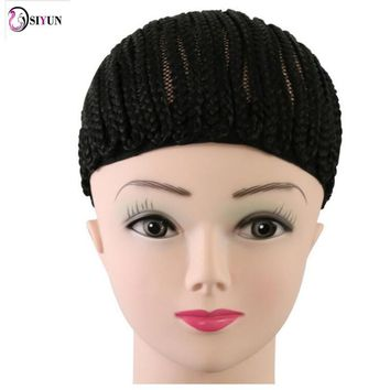 Hot Sale 1PC Wig Caps Hairnets Black Crochet Synthetic Braids Wig Cap For Making Wigs With Adjustable Strap Glueless Weaving Cap