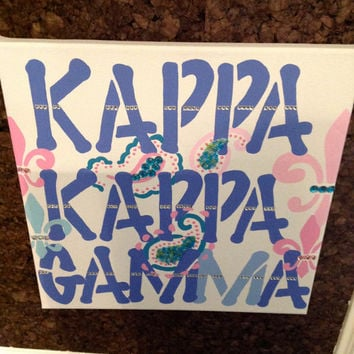 Kappa Kappa Gamma Sorority Greek - Canvas Wall Sign - Hand Painted 12 x 12