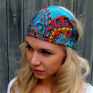 Yoga Wide Headband Turban Running Band Red Orange Blue Yellow Black Aztec Geometric Headband Cotton Workout Band Womens Hair Accessories