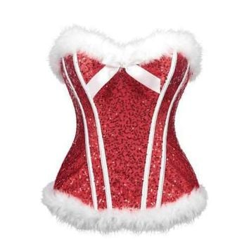 Christmas Sequined Feathers Trim Corset - Red M
