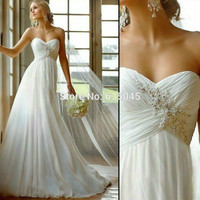 Bridal Gown 2016 New Stock US Size 2 to 22 White/Ivory Applique Beach Wedding Dresses Vestido Novia Playa Robe De Mariage