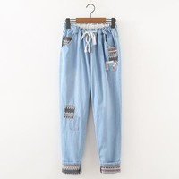 Japanese System Mori Girl Casaul Trousers Patch Jeans Elastic Straight Pants Trousers Young Girl Fresh Style Spring Pants