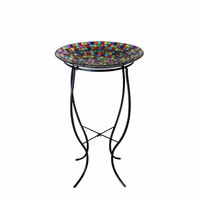 Alpine Mosaic Bird Bath with Metal Stand 27""