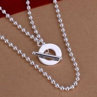 DUMAN Fashion Jewelry 925 Solid Silver Plated GU Ring Beaded Necklace Valentine's day, Christmas Gifts