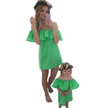 Mommy and Me Kelly Green Off the Shoulder Ruffle Matching Dresses for Mom and Baby
