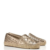 Tory Burch Thatched Perforated Metallic Flat Espadrille