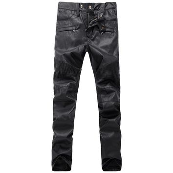 Runway Biker PU Leather Slim Denim Pants destroyed Fashion Mens Hip Hop Leather Pants Zippers PU Faux Leather Joggers Trousers