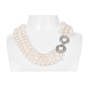 White Triple Strand Layer Freshwater Pearl Necklace 10mm