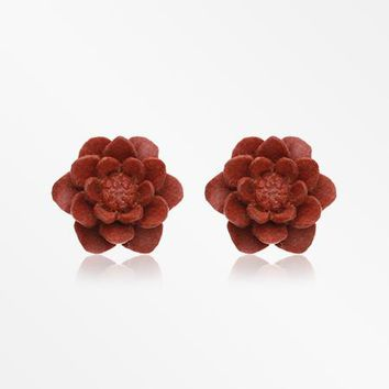A Pair of Brown Water Lily Handcarved Wood Earring Stud