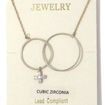 Circle linked cross charm necklace