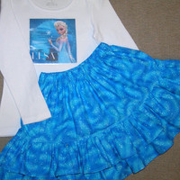 Frozen Elsa outfit - girls back to school outfit  - Elsa the Snow Queen - ready to ship - Elsa skirt - Elsa shirt - OOAK - girly - size 3-4