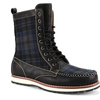 Polar Fox Men's 501061 Tall Plaid Design Lace Up Casual Dress Boots