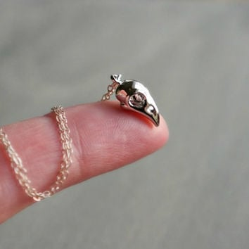 Bird Skull Necklace ... Tiny Bird Head Pendant on a Sterling Silver Chain // Creepy Spooky Dark Halloween Costume Jewelry