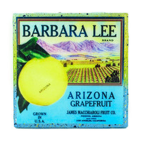 Handmade Coaster Barbara Lee - Vintage Citrus Crate Label - Handmade Recycled Tile Coaster