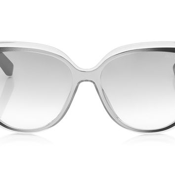Jimmy Choo - Cindy Grey Ruthenium and Black Ruthenium Cat-Eye Sunglasses
