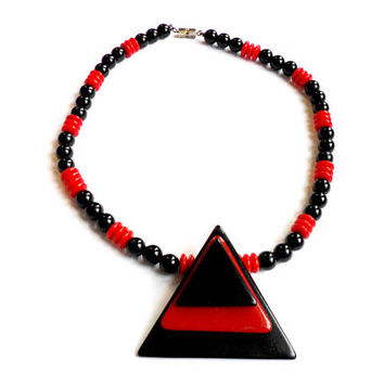 Vintage Acrylic Geometric Necklace - Triangle Pendant - Red Black - Mod Style - Glass Bead Necklace - Stacked Layered Triangles