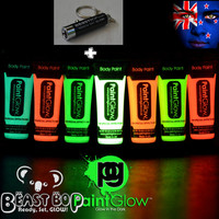 7 x 10ML GLOW IN THE DARK FACE & BODY PAINT + UV LED TORCH