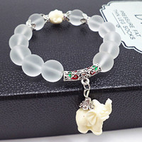 Elephant --Good Luck Symbol -- Frosted White Crystal Bracelet