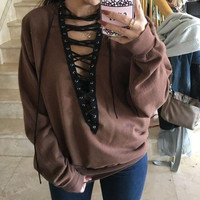 Hoodies Tops Pullover Hollow Out Deep V Long Sleeve Women's Fashion T-shirts [9515505156]
