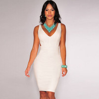 White  Sleeveless V-Neck Cutout Bodycon Midi Dress