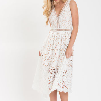Isabella White Lace Crochet Midi Dress
