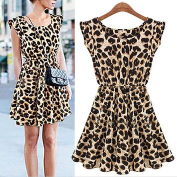 Fashion Sleeveless Round Leopard Dress Comfortable Breathable Wild Tide
