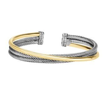 18k Yellow Gold And Twisted Sterling Silver Cuff Bangle Bracelet