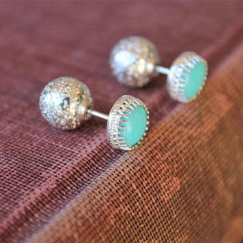 Doublesided Turquoise Gemstone Studs, Arizona Kingman Blue Turquoise Earrings, Natural Stone Sterling Silver Double ball studs Dior Inspired