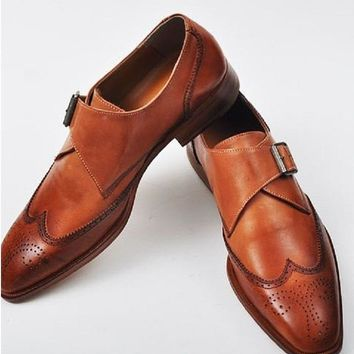 Wakeby Wolf Formal Brown Brogue Single Monk Strap Shoes