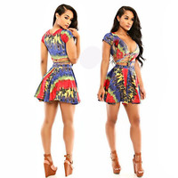 Abstract Print Strappy Cut-Out Short Sleeve Pleated Mini Dress