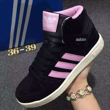 Adidas Originals Increase High Top sports shoes black-pink line white logo H-MDTY-SHINING