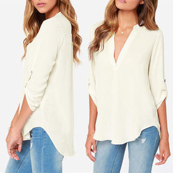 SIMPLE - Fashionable Chiffon Casual Long Sleeve Shirt blouse b4232