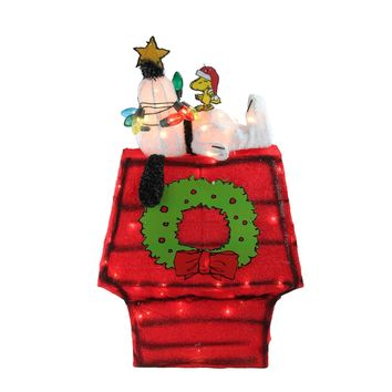 """27"""" Pre-Lit Peanuts 3-Dimensional Snoopy with Star Christmas Outdoor Decoration"""