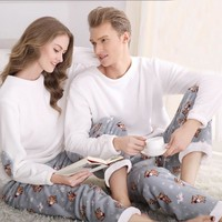 SSH042 Winter Flannel Couples Matching Pajamas Adult Full Sleeve Pyjamas For Women Men Full Length Pajama Set Warm Sleepwear